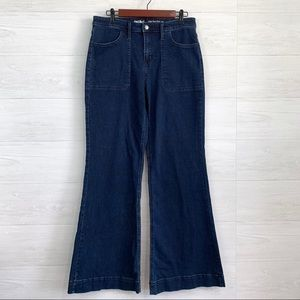 Mossimo High Rise Wide Flare Leg Dark Blue Jeans